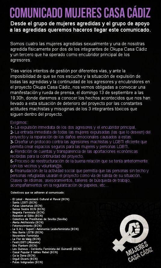 Comunicat dones Okupa Casa Cádiz